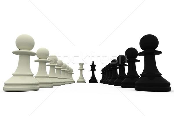 Czarno białe króla stałego szachy czarny strategii Zdjęcia stock © wavebreak_media