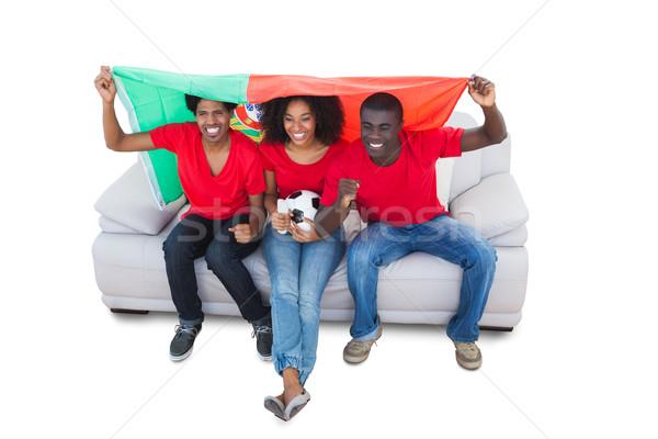 Portogallo calcio tifosi rosso divano bianco Foto d'archivio © wavebreak_media