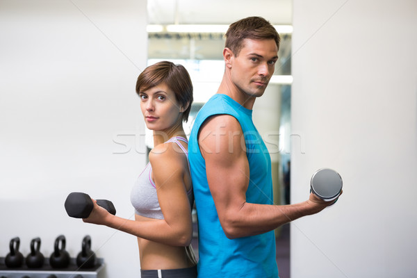 Fit couple lifting dumbbells together Stock photo © wavebreak_media
