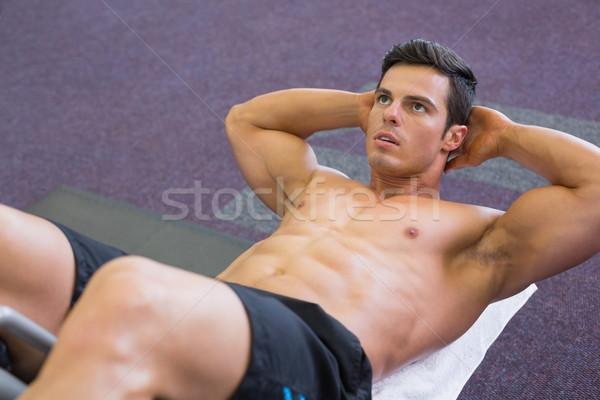Izmos férfi abdominális tornaterem magasról fotózva kilátás Stock fotó © wavebreak_media