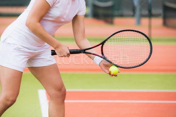 Fókuszált teniszező kész napos idő sport fitnessz Stock fotó © wavebreak_media
