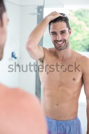 Portré komoly póló nélkül izmos férfi tornaterem Stock fotó © wavebreak_media