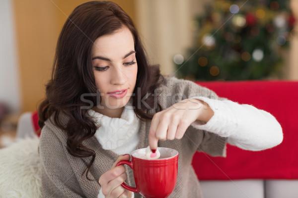 Foto stock: Morena · malvavisco · chocolate · caliente · Navidad · casa · salón