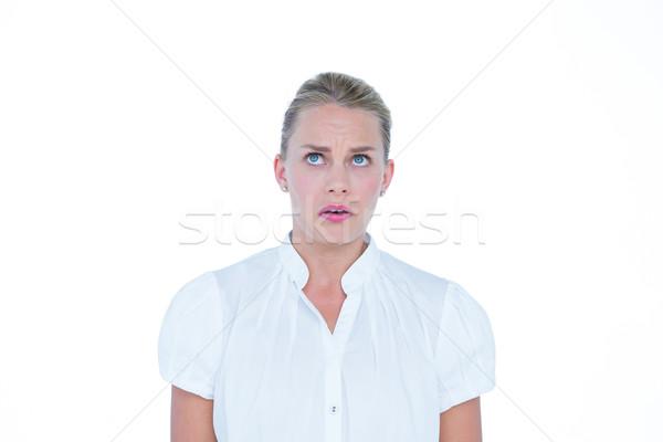Donna d'affari ansioso bianco muro business donna Foto d'archivio © wavebreak_media