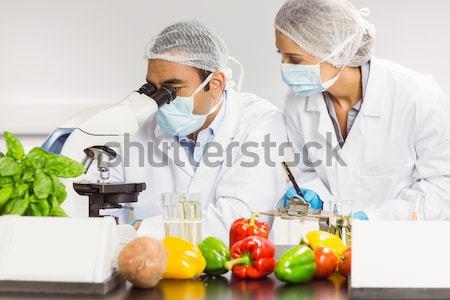 étel tudósok mikroszkóp kutatás egyetem férfi Stock fotó © wavebreak_media