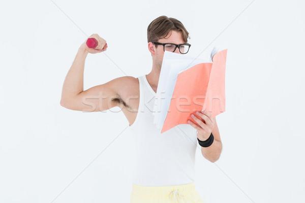 Hantle czytania notatnika biały Zdjęcia stock © wavebreak_media