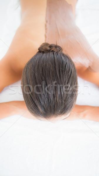 Gyönyörű barna hajú élvezi csokoládé szépségápolás gyógyfürdő Stock fotó © wavebreak_media