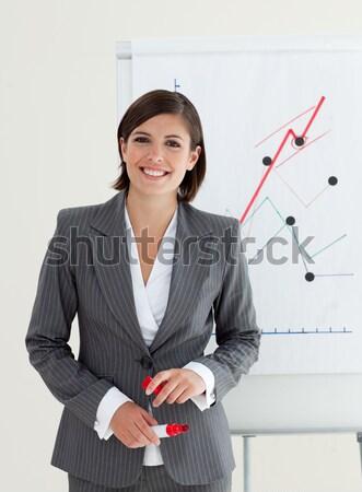 Foto stock: Jovem · gerente · apresentação · escritório · reunião · trabalhar