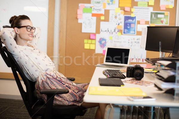 Designer szék mosolyog kreatív iroda számítógép Stock fotó © wavebreak_media
