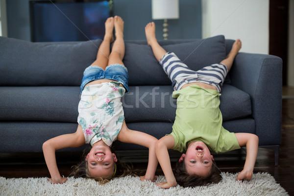Testvérek szórakozás nappali játékos otthon lány Stock fotó © wavebreak_media