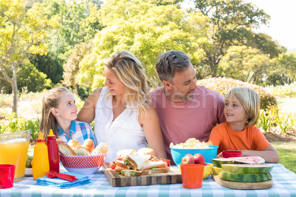 Happy family interacting with each other while having meal in park Stock photo © wavebreak_media
