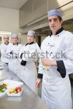 Restoran müdür brifing mutfak personel erkek Stok fotoğraf © wavebreak_media