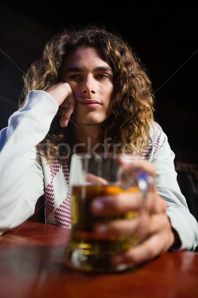 Man bier mok bar nadenkend Stockfoto © wavebreak_media