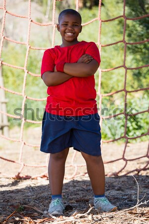 Entrenador nino pie junto arranque campamento Foto stock © wavebreak_media