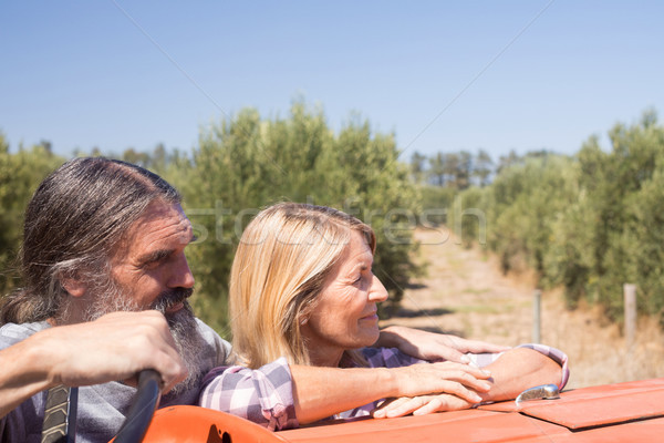 Thoughtful couple standing near tractor in olive farm Stock photo © wavebreak_media