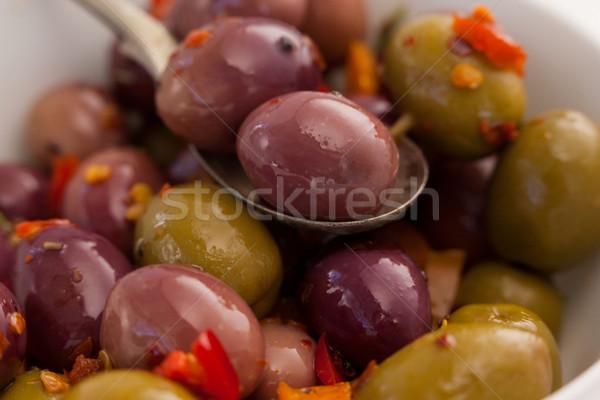 Colher azeitonas tigela tempero vinho Foto stock © wavebreak_media