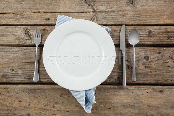Plaat bestek servet houten tafel hout Stockfoto © wavebreak_media