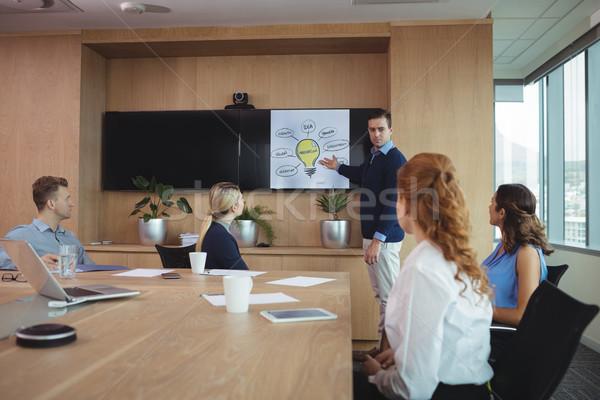 üzletember magyaráz tervek kollégák tárgyalóterem nő Stock fotó © wavebreak_media