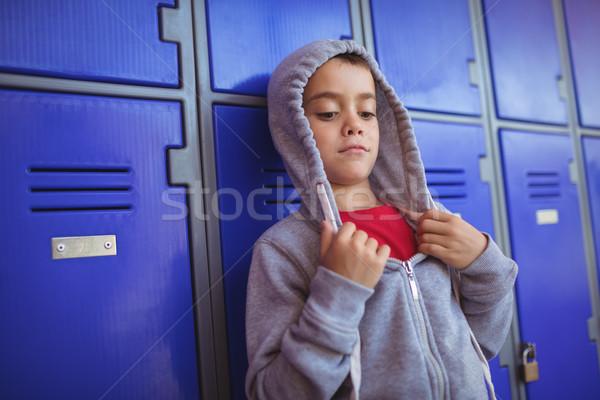 Fiú visel kapucnis póló telefon biztonság Stock fotó © wavebreak_media
