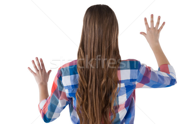 Lány kisajtolás láthatatlan virtuális képernyő fehér Stock fotó © wavebreak_media