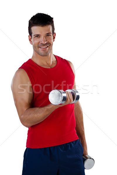 Photo stock: Portrait · souriant · sport · joueur · haltères