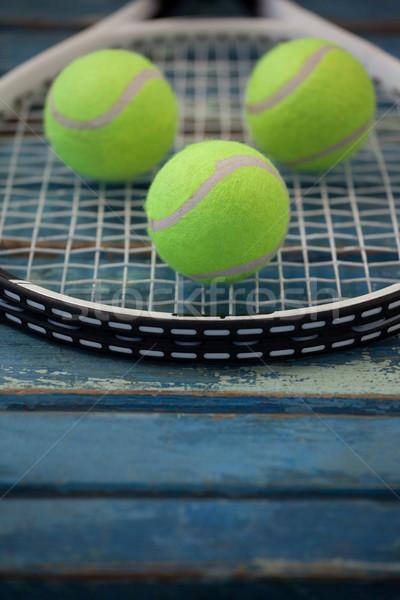 Tl Geel tennisracket Blauw Stockfoto © wavebreak_media