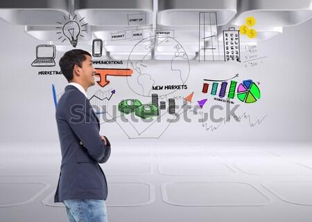 Portret szczęśliwy biznesmen karteczki stałego Zdjęcia stock © wavebreak_media