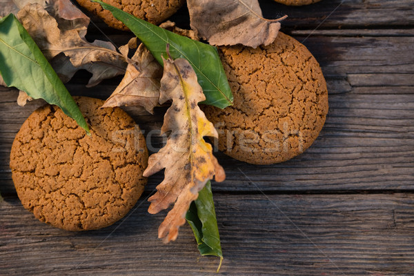 Close up of cookies and leaves on table Stock photo © wavebreak_media