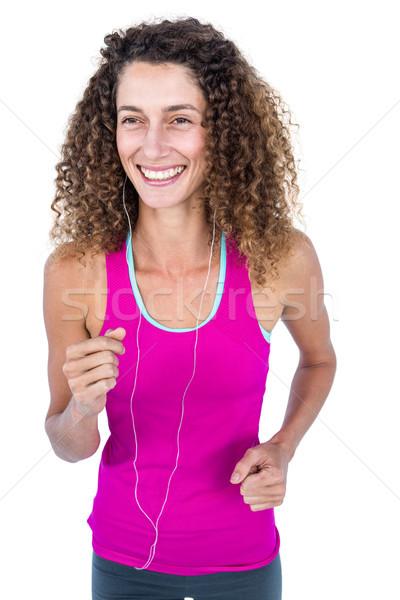 Atractivo feliz mujer correr blanco deporte Foto stock © wavebreak_media