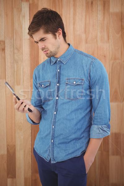 Hipszter tart egyenes perem borotva áll Stock fotó © wavebreak_media