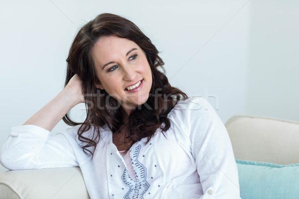 Terhes nő ül nappali otthon nő boldog Stock fotó © wavebreak_media