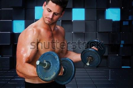 Torse nu homme lourd pneu crossfit gymnase Photo stock © wavebreak_media