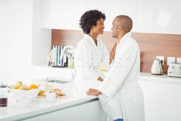 счастливым пару кухне домой женщину Сток-фото © wavebreak_media