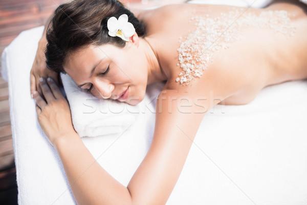 Vrouw massage tabel zout Maakt een reservekopie Stockfoto © wavebreak_media