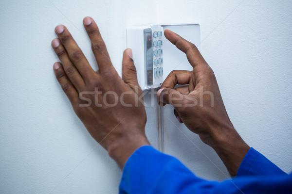 El dokunmak ev güvenlik siyah Stok fotoğraf © wavebreak_media
