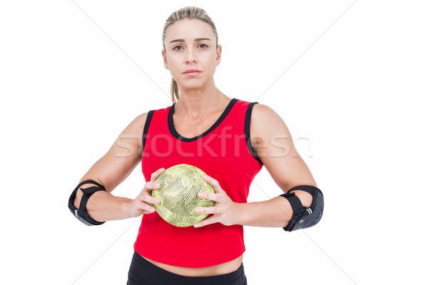 Kadın atlet dirsek hentbol beyaz Stok fotoğraf © wavebreak_media