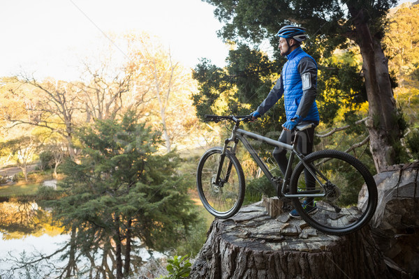 Male mountain biker with bicycle looking at nature Stock photo © wavebreak_media
