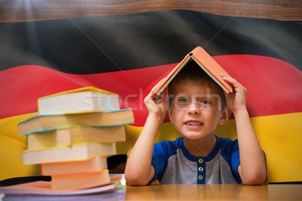 Сток-фото: изображение · Cute · мальчика · книга · голову