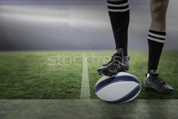 összetett kép rögbi játékos fekete zokni Stock fotó © wavebreak_media