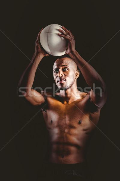 Póló nélkül atléta dob rögbilabda fekete férfi Stock fotó © wavebreak_media