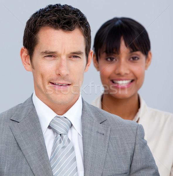 Tolakodó üzleti partnerek áll vonal iroda boldog Stock fotó © wavebreak_media