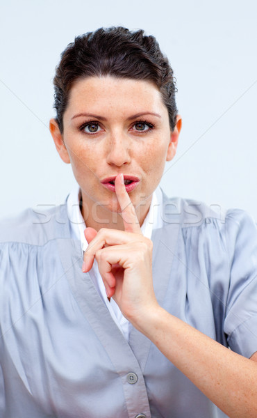 Serious business woman asking for silence Stock photo © wavebreak_media