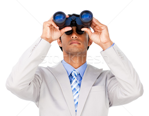 Ernstig zakenman verrekijker geïsoleerd witte man Stockfoto © wavebreak_media