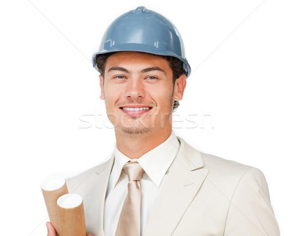 Charyzmatyczny młodych mężczyzna architekta biały pracy Zdjęcia stock © wavebreak_media