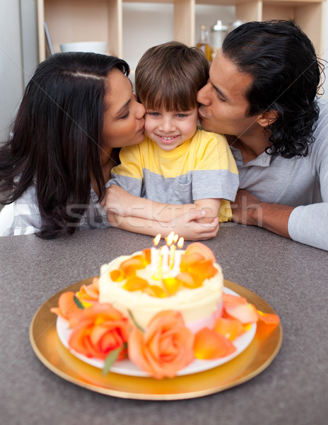 Affectionate parents celebrating their son's birthday Stock photo © wavebreak_media