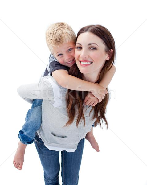 笑みを浮かべて 母親 ピギーバック 家族 笑顔 ストックフォト © wavebreak_media
