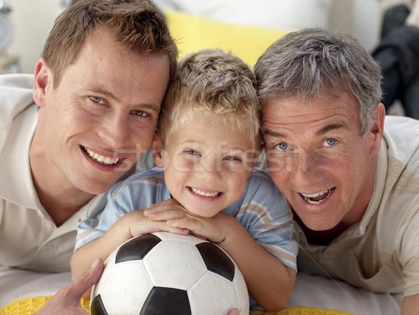 Portrait souriant fils père grand-père étage Photo stock © wavebreak_media