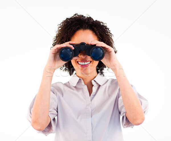 Geschäftsfrau halten Fernglas Kamera Frau Stock foto © wavebreak_media