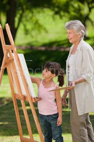 Babcia wnuczka malarstwo ogród szczęśliwy sztuki Zdjęcia stock © wavebreak_media