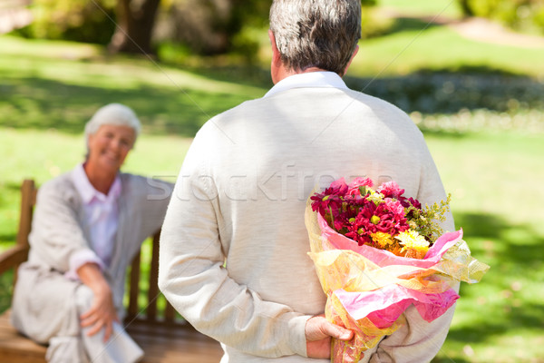 Retired man offering flowers to his wife Stock photo © wavebreak_media